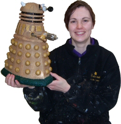 Photo - Sarah Myerscough (me) with Dr Who Dalek maquette made for Blackpool Illuminations