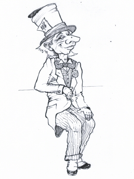 Photo original concept drawing design by doug sills mad hatter alice